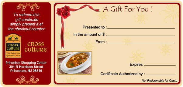 Buy Gift Cards-Certificates-Corporate Gifts | Indian Cuisine New ...